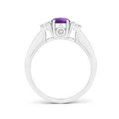 Toggle Classic Prong Set Round Amethyst and Diamond Three Stone Ring