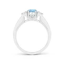 Toggle Classic Prong Set Round Aquamarine and Diamond Three Stone Ring