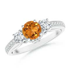 Classic Prong Set Round Citrine and Diamond Three Stone Ring