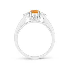 Toggle Classic Prong Set Round Citrine and Diamond Three Stone Ring