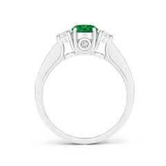 Toggle Classic Prong Set Round Emerald and Diamond Three Stone Ring
