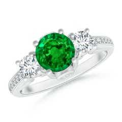 GIA Certified Round Emerald Trilogy Ring with Diamonds