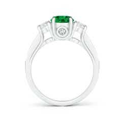 Toggle GIA Certified Round Emerald Trilogy Ring with Diamonds