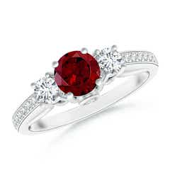 Classic Prong Set Round Garnet and Diamond Three Stone Ring
