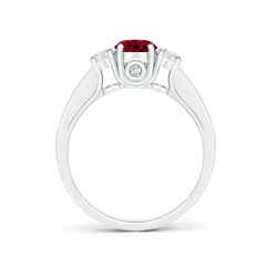 Toggle Classic Prong Set Round Garnet and Diamond Three Stone Ring