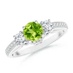 Classic Prong Set Round Peridot and Diamond Three Stone Ring