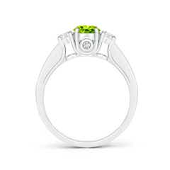 Toggle Classic Prong Set Round Peridot and Diamond Three Stone Ring