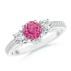Classic Prong Set Round Pink Sapphire and Diamond Three Stone Ring