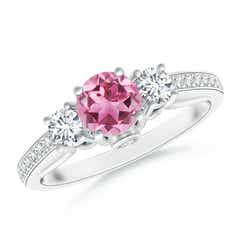 Classic Prong Set Round Pink Tourmaline and Diamond Three Stone Ring