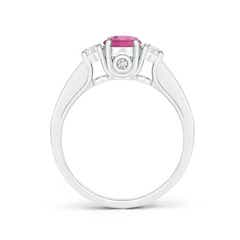 Toggle Classic Prong Set Round Pink Tourmaline and Diamond Three Stone Ring