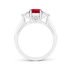 Toggle Classic Prong Set Ruby and Diamond Three Stone Ring