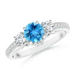 Classic Prong Set Swiss Blue Topaz and Diamond Three Stone Ring