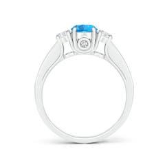 Toggle Classic Prong Set Swiss Blue Topaz and Diamond Three Stone Ring