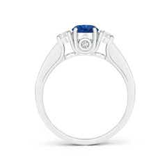 Toggle Classic Prong Set Round Blue Sapphire and Diamond Three Stone Ring