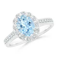 Vintage Style Aquamarine & Diamond Scalloped Halo Ring