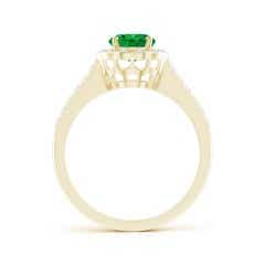 Toggle Vintage Style Emerald & Diamond Scalloped Halo Ring