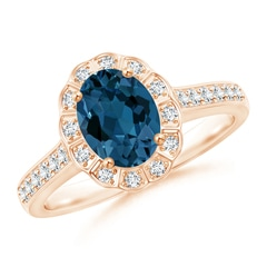 Vintage Style London Blue Topaz Diamond Halo Ring