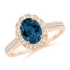 Vintage Style London Blue Topaz Diamond Halo Ring