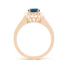 Toggle Vintage Style London Blue Topaz & Diamond Scalloped Halo Ring