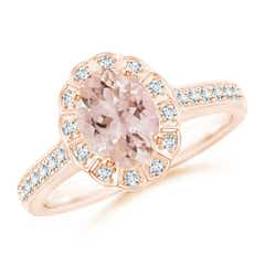 Vintage Style Morganite & Diamond Scalloped Halo Ring