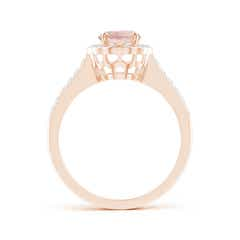 Toggle Vintage Style Morganite & Diamond Scalloped Halo Ring