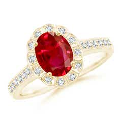 Vintage Style Ruby & Diamond Scalloped Halo Ring