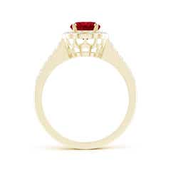 Toggle Vintage Style Ruby & Diamond Scalloped Halo Ring