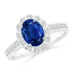 Vintage Style Sapphire & Diamond Scalloped Halo Ring