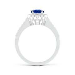 Toggle Vintage Style Sapphire & Diamond Scalloped Halo Ring