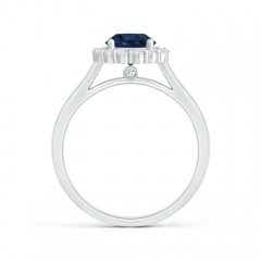 Toggle Vintage Inspired Blue Sapphire Halo Ring with Diamond