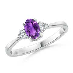 Solitaire Oval Amethyst Ring with Trio Diamond Accents