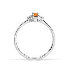 Toggle Solitaire Oval Citrine Ring with Trio Diamond Accents