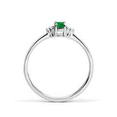 Toggle Solitaire Oval Emerald Ring with Trio Diamond Accents