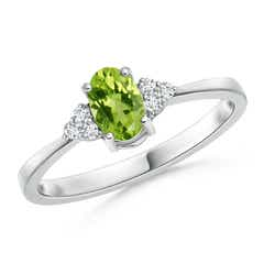 Solitaire Oval Peridot Ring with Trio Diamond Accents