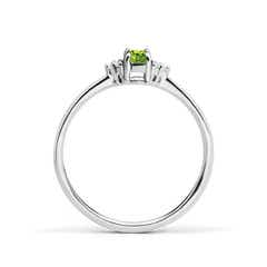 Toggle Solitaire Oval Peridot Ring with Trio Diamond Accents