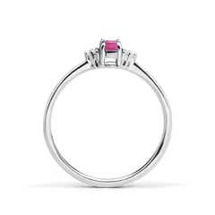 Toggle Solitaire Oval Pink Tourmaline Ring with Trio Diamond Accents