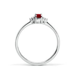 Toggle Solitaire Oval Ruby and Diamond Promise Ring