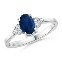 Solitaire Oval Blue Sapphire and Diamond Promise Ring