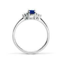 Toggle Solitaire Oval Blue Sapphire and Diamond Promise Ring