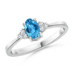 Solitaire Oval Swiss Blue Topaz Ring with Trio Diamond Accents