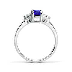 Toggle Solitaire Oval Tanzanite and Diamond Promise Ring