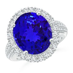 Oval Tanzanite Cocktail Ring with Diamonds