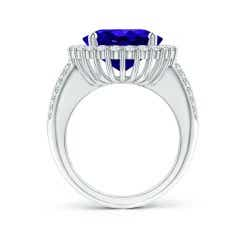 Toggle Oval Tanzanite Cocktail Ring with Diamonds