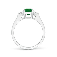 Toggle Emerald-Cut Emerald and Trapezoid Diamond Three Stone Ring