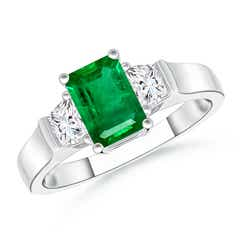 Emerald-Cut Emerald and Trapezoid Diamond Three Stone Ring