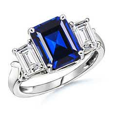 Lab Created Three Stone Blue Sapphire Diamond Ring