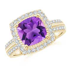 Twisted Rope Cushion Amethyst Halo Ring