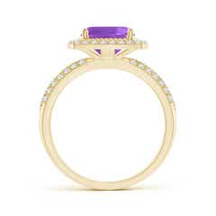 Toggle Twisted Rope Cushion Amethyst Halo Ring