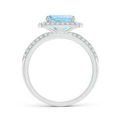 Toggle Twisted Rope Cushion Aquamarine Halo Ring