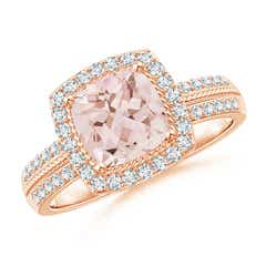 Vintage Cushion Morganite Halo Ring with Diamond Halo